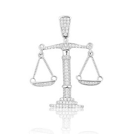 Sterling Silver Scale Pendant Libra Mens 39mm Tall With CZ By MidwestJewellery