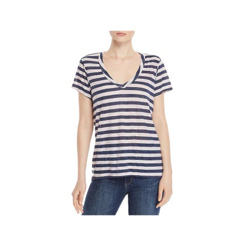 Wilt Womens Sexy Dee T-Shirt Stripe V-Neck - Petal/Ink