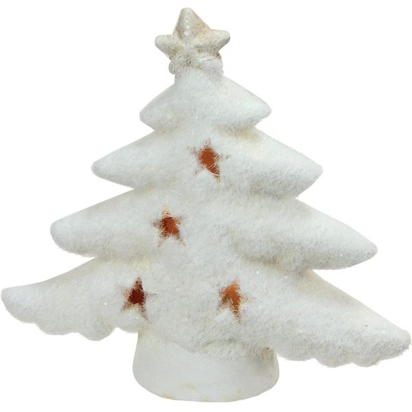 "6"" LED Lighted White Christmas Tree with Star Cut-Outs Table Top Figure"