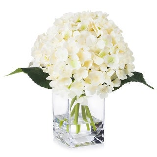 Link to Enova Home Silk Hydrangea Arrangement in Clear Glass Vase With Faux Water For Home Office Decoration Similar Items in Decorative Accessories