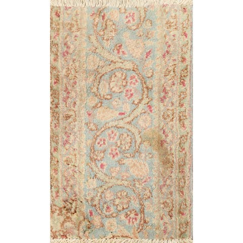 """Vintage Floral Kerman Persian Area Rug Hand-knotted Wool Carpet - 1'4"""" x 2'0"""""""