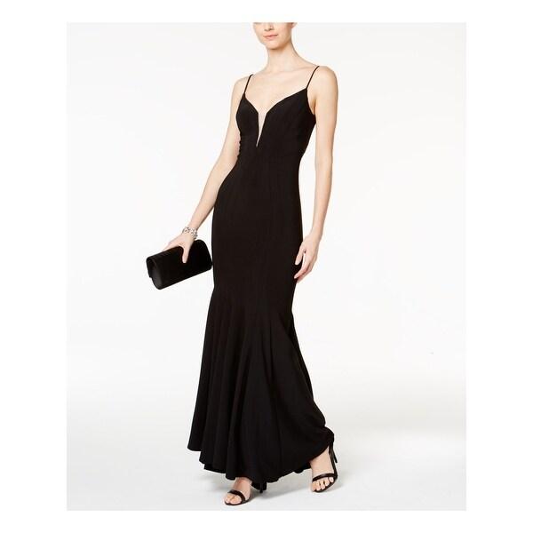 BETSY & ADAM Black Spaghetti Strap Maxi Mermaid Dress Size 6. Opens flyout.