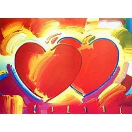 Two Hearts, Ltd Ed Lithograph, Peter Max