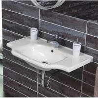 """Nameeks 081000-U CeraStyle 25-3/5"""" Ceramic Wall Mounted Bathroom Sink with 1 Faucet Hole and Overflow"""