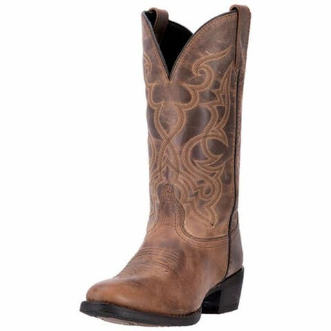 """Laredo Western Boots Womens 11"""" Maddie Round Toe Leather Tan - Distressed Tan"""