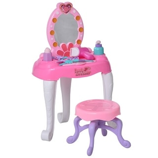 Link to Qaba Kids Vanity Table and Chair Beauty Pretend Play Set with Mirror Lights Sounds & Makeup Accessories for Girls 3+ Years Old Similar Items in Pretend Play