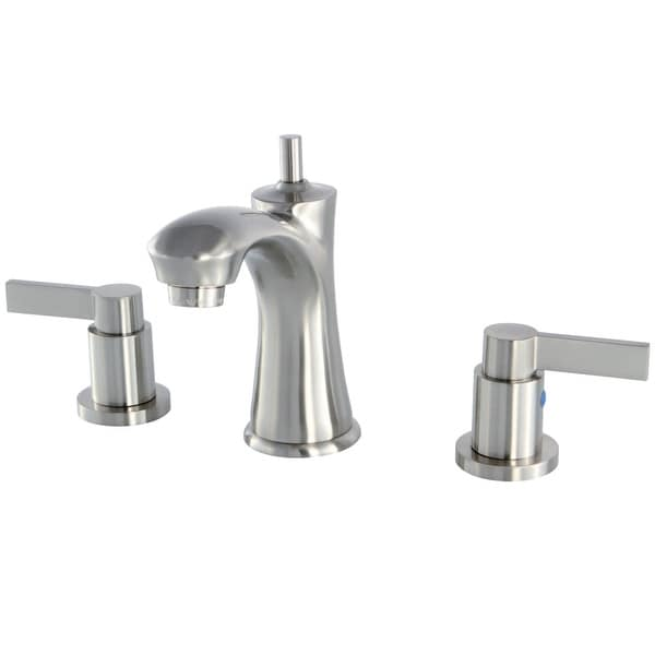 Kingston Brass KB796.NDL NuvoFusion 1.2 GPM Widespread Bathroom Faucet with Pop-Up Drain Assembly and Metal Handles