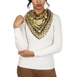 Versace Brown/Gold Leo Print Silk Foulard Scarf
