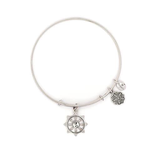 Wheel of Dharma Adjustable Charm Bangle Bracelet, Silver Rhodium