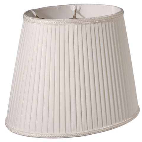 Cloth & Wire Slant Oval Side Pleat Softback Lampshade with Washer Fitter, White