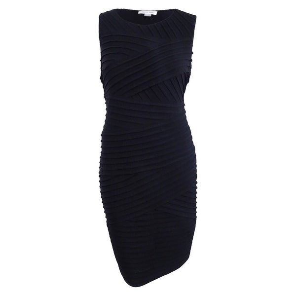 Shop Calvin Klein Women\'s Plus Size Pleated Bandage Dress - Black ...