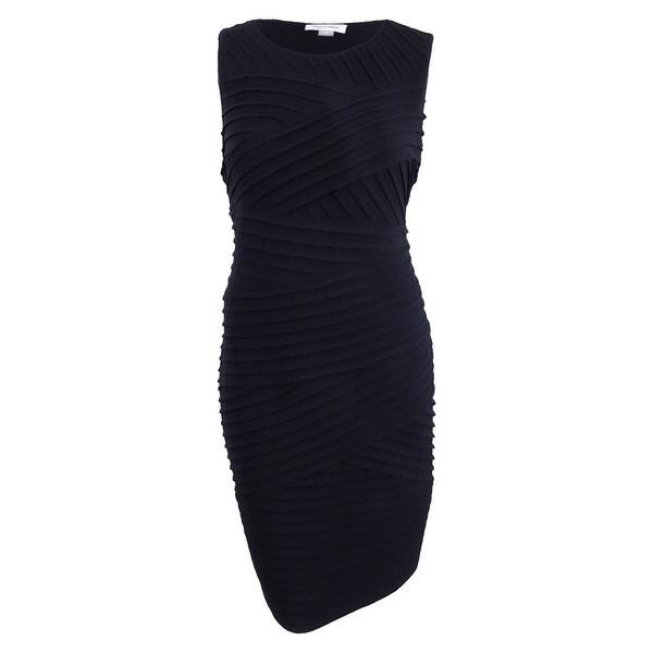 Calvin Klein Women\'s Plus Size Pleated Bandage Dress - Black