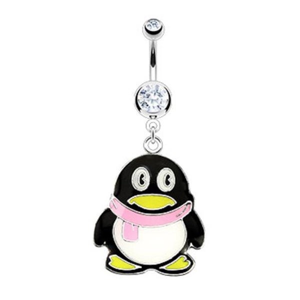 Stainless Steel Navel Belly Button Ring with Clear Coated Penguin with Scarf Character Dangle