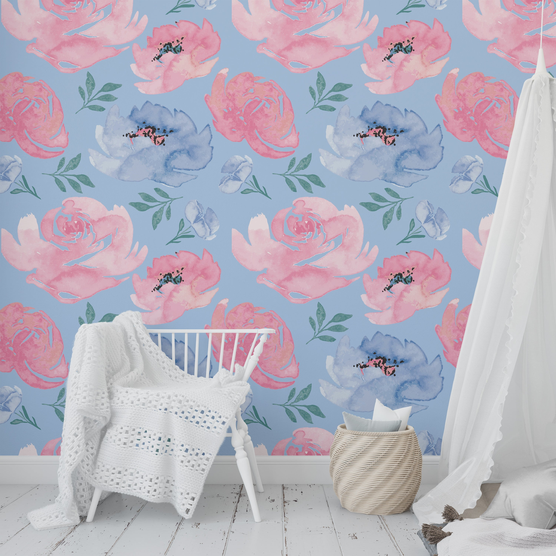 Shop Boho Floral Dance Light Blue Peel And Stick Wallpaper By Kavka Designs 2 X 16 On Sale Overstock 31638014