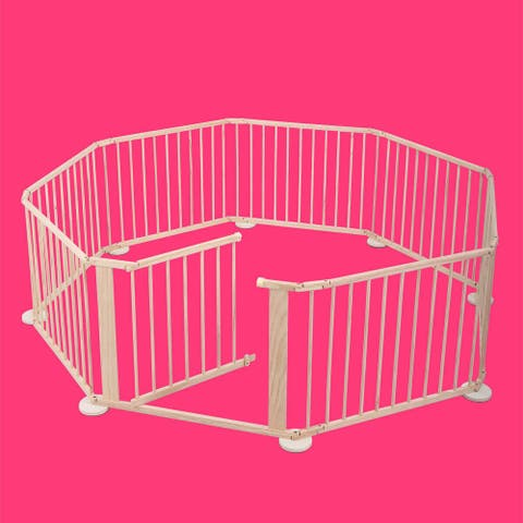8 Panel Wood Baby Playpen Kids Safety Play Center Yard Home Indoor
