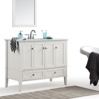 WYNDENHALL Windham 42 inch Contemporary Bath Vanity with White Engineered Quartz Marble Top
