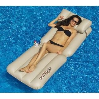 "88"" Water Sports Beige Adjustable Flip-Top Inflatable Swimming Pool Lounger Raft - brown"