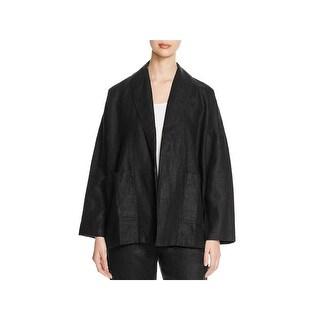 Eileen Fisher Womens Petites Jacket Linen Shawl Collar - ps