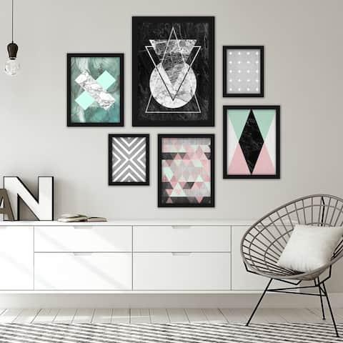 Modern Geometric Abstract - 6 Piece Framed Print Gallery Wall Art Set
