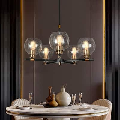 """Modern Glam 5 Lights Wagon Wheel Chandeliers Black Gold Ceiling Lights for Dining Room - D23.6"""" x H77"""""""