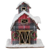 "11.75"" Holiday Moments Classic Red Plaid Snow Covered Barn Christmas Decoration - WHITE"