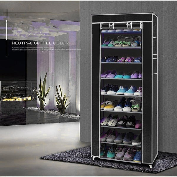 10-Layers 9 Lattices Non-woven Fabric Shoe Rack Black / Purple / Rose Red. Opens flyout.