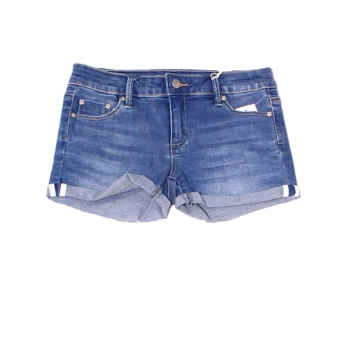 Tractr Girl's Shorts Blue Size 10 Cuffed Denim Five-Pocket One-Button