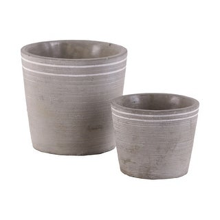Cement Small Round White Banded Rim Pot With Tapered Bottom, Set of Two, Gray
