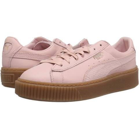 Puma Womens Basket platform euphoria gum Low Top Lace Up Fashion Sneakers