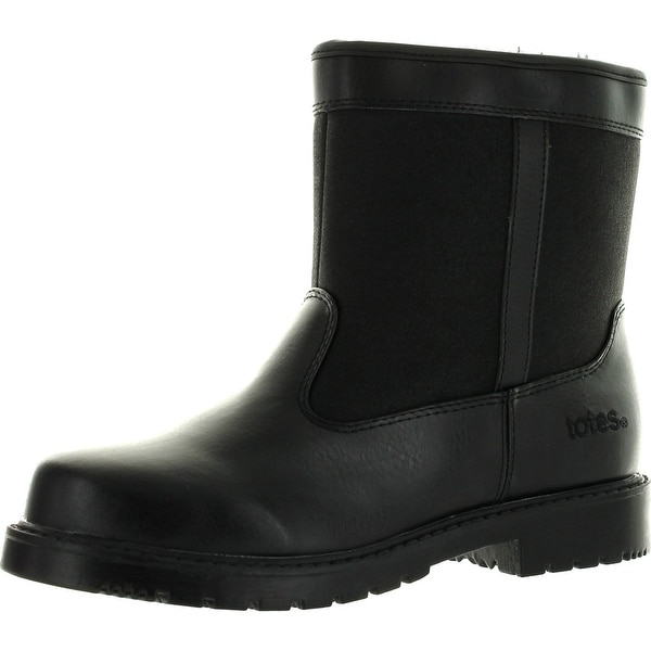 Totes Stadium Mens Waterproof Insulated Side Zip Winter Snow Boot Black