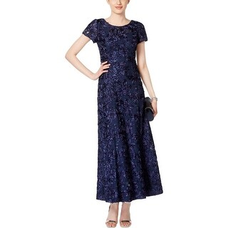Alex Evenings Womens Petites Evening Dress Sequined Rosette
