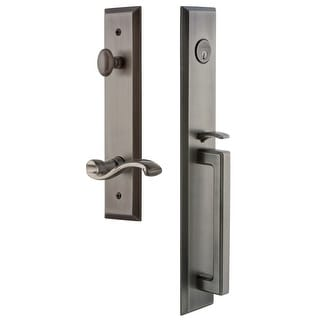 "Grandeur FAVDGRPRT_ESET_238_LH  Fifth Avenue Solid Brass Rose Left Handed Keyed Entry Single Cylinder Full Plate ""D"" Grip"