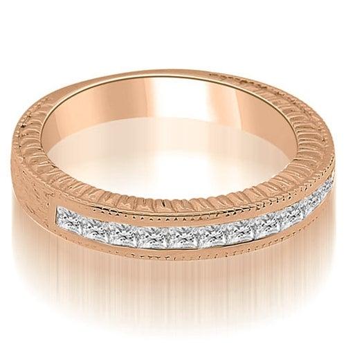 0.40 cttw. 14K Rose Gold Antique Channel Set Princess Cut Diamond Wedding Ring