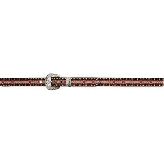 Angel Ranch Western Belt Girls Fabric Inlay Leather Multi-Color