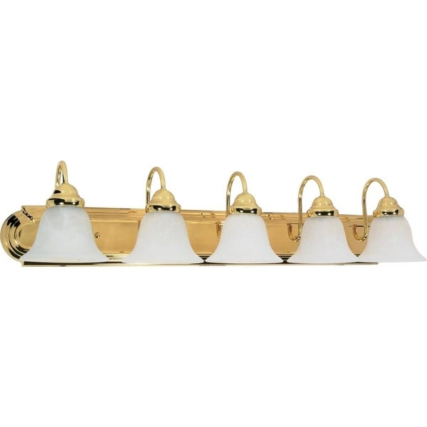 """Nuvo Lighting 60/331 Ballerina 5 Light 36"""" Wide Vanity Light with Alabaster Glass Shades - Polished brass"""