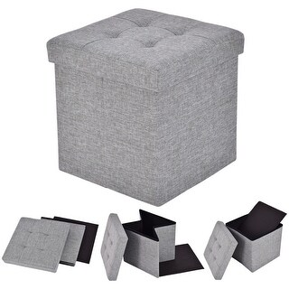 Costway Folding Storage Cube Ottoman Seat Stool Box Footrest Furniture  Decor Light Gray