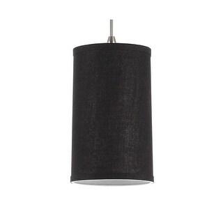 Sea Gull Lighting 94626-987 Pendant Dark Gray Linen Shades Satin Nickel Finish