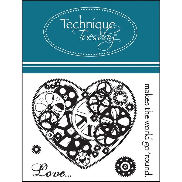 "Technique Tuesday Clear Stamps 2""X2.5""-Love Makes The World Go Round"
