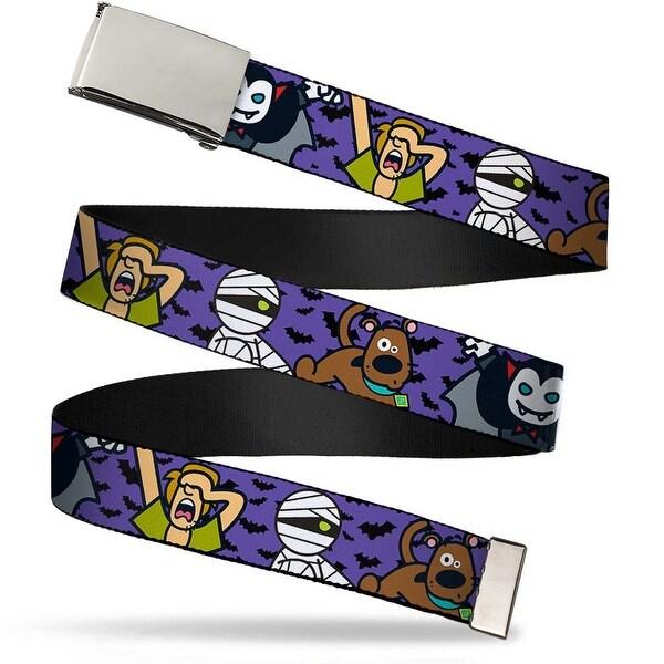 """Blank Chrome 1.0"""" Buckle Mini Scooby Doo Halloween Bats Purple Black Web Belt 1.0"""" Wide"""