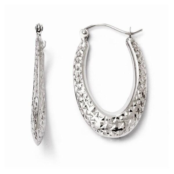 10k White Gold Diamond Cut Hinged Hoop Earrings