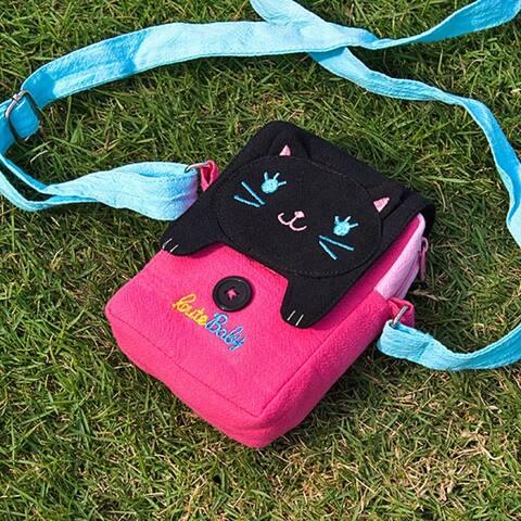 [Black Cat] Embroidered Applique Swingpack Bag Purse / Wallet Bag / Camera Bag (3.9*5.1*1.2) - 3.9*5.1*1.2