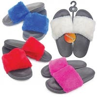 Ladies Slide Sandals - 12 Blue Fur Trim, 12 Red Fur Trim,