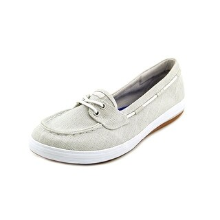 Keds Glimmer Women Moc Toe Canvas Silver Boat Shoe