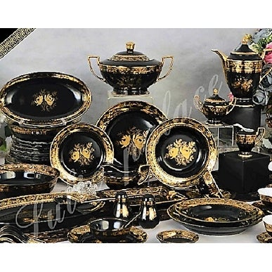 Luxury Design Palace black and gold dinnerware set  sc 1 st  Overstock & Shop Luxury Design Palace black and gold dinnerware set - Free ...