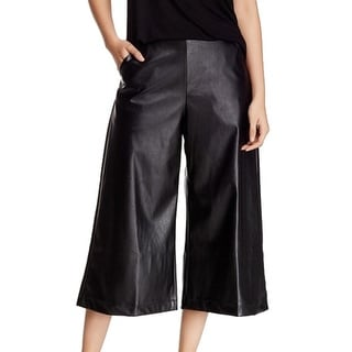 Soprano NEW Black Size Small S Junior Faux Leather Wide Leg Crop Pants
