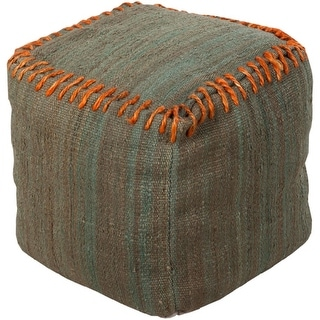 "18"" Burnt Orange and Moss Oak Stitched Top Jute Square Pouf Ottoman"