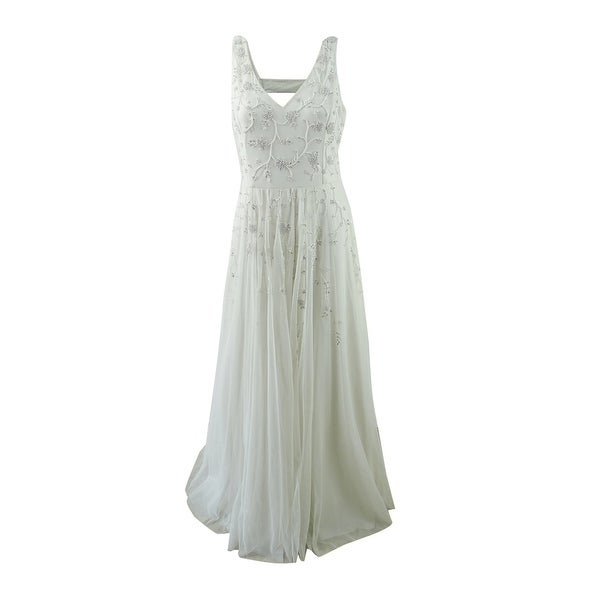 Shop Adrianna Papell Womens Beaded A Line Gown 12 Ivory Ivory