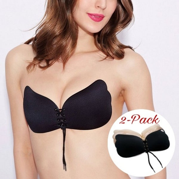 3108d1c9f509c 2 Pack Black and Beige - Strapless Backless Push Up Reusable Self Adhesive  Bra
