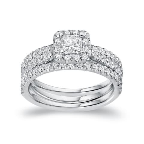 Auriya 1 1/4ctw Princess-cut Halo Diamond Engagement Ring 3pc Set 14k Gold