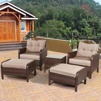 Costway 5 PCS Rattan Wicker Furniture Set Sofa Ottoman W/Brown Cushion Patio Garden Yard - as pic
